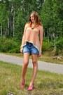 Carrot-orange-self-made-blouse-hot-pink-nine-west-heels