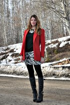 red  blazer - black BCBG boots - off white Self Made skirt