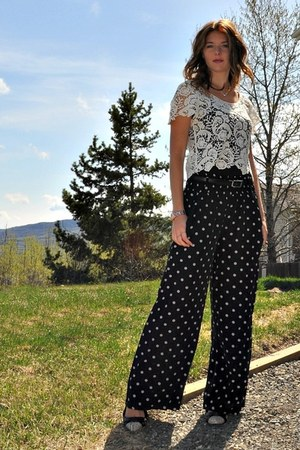 black polka dot Suzy Shier pants - ivory lace  blouse