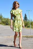 green floral Self Made dress - brown Aldo wedges
