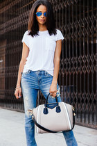 white Derek Lam t-shirt - blue All Saints jeans - tan Givenchy bag