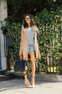 nude All Saints coat - blue One Teaspoon shorts - nude Joes Jeans pumps