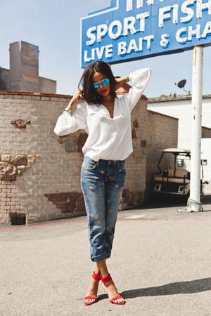 red Zara heels - blue Current Elliot jeans - Ray Ban sunglasses