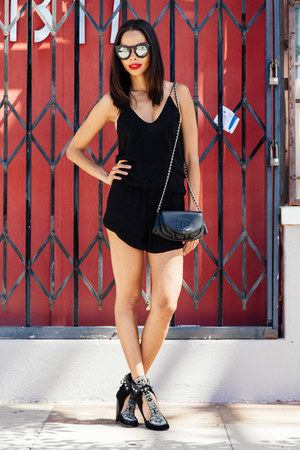 black IRO romper - black Isabel Marant boots - black Chanel bag