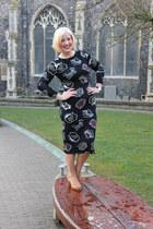 black new look dress - tan Pretty polly tights - beige unisa heels