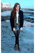 brown boots - denim shorts - vest - navy cardigan