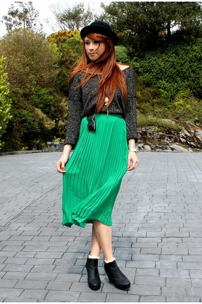 pleated skirt - bowler hat - glitter jumper