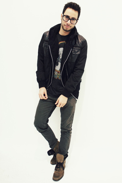 black Twenty-one Men jacket - charcoal gray Aldo boots - gray Levis jeans