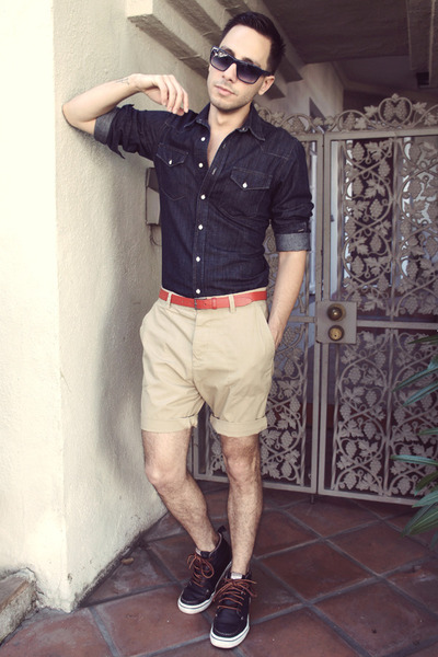 navy Vans shoes - navy H&M shirt - beige H&M shorts - navy Paul Smith sunglasses