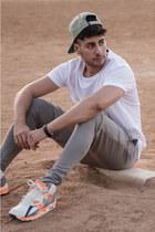 silver RVCA hat - white mesh Topman shirt - silver leggings Topman shorts
