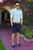 navy obey shorts - navy boat shoes H&M shoes - floral print Express shirt