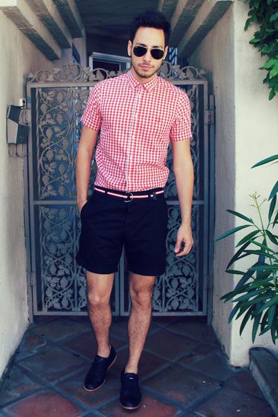 red ben sherman shirt - black Royal Elastics shoes - black H&M shorts