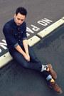 Navy-hot-topic-jeans-dark-brown-zara-shoes-navy-denim-h-m-shirt