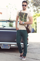 dark brown boat shoes Vans shoes - teal Zara jeans - eggshell Hot Topic shirt