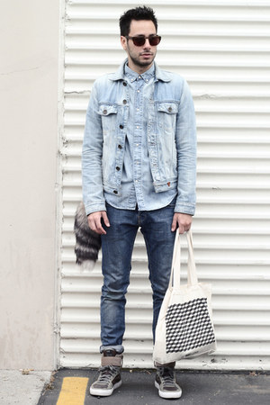 sky blue denim Guess jacket - blue H&M jeans - sky blue chambray H&M shirt