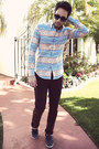 Navy-boat-shoes-h-m-shoes-aztec-print-naked-famous-denim-shirt