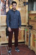 navy Levis shirt - crimson corduroy Levis jeans - navy Levis sneakers