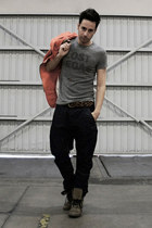 navy harem Zara jeans - charcoal gray Aldo boots - orange Zara jacket