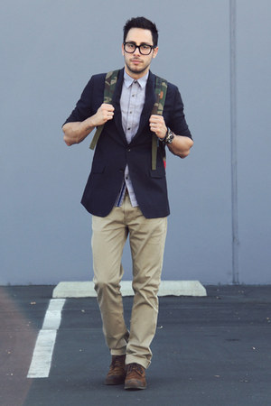 dark brown Zara shoes - navy banana republic blazer