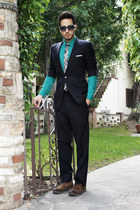 navy Givenchy suit - dark brown Zara shoes - turquoise blue H&M shirt