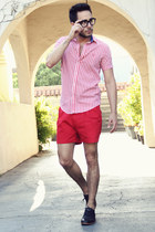 red gingham ben sherman shirt - black Royal Elastics shoes - red H&M shorts