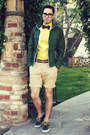 Navy-vans-shoes-dark-green-gap-jacket-yellow-express-shirt