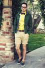 Navy-vans-shoes-dark-green-gap-jacket-yellow-express-shirt