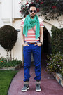 Red-striped-shirt-h-m-shirt-turquoise-blue-zara-scarf