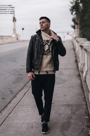 black leather H&M jacket - beige Isabel Marant sweater - black Zara pants