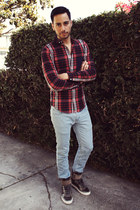 light blue custom made getwear jeans - ruby red plaid H&M shirt