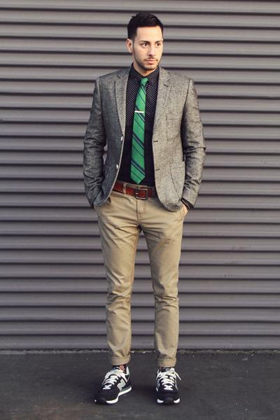 navy pin dot Forever21 shirt - heather gray tweed Topman blazer