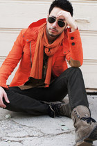 carrot orange slicker Zara jacket - heather gray Aldo boots