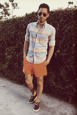 aztec print Naked & Famous Denim shirt - navy boat shoes Vans shoes