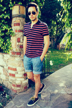 polo H&M shirt - navy boat shoes Vans shoes - sky blue H&M shorts