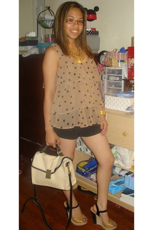 papaya blouse - Jason Wu for Target bag - Jimmy Z shorts - Aldo wedges