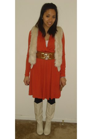 carrot orange H&amp;M dress - ivory urban orginal boots - cream H&amp;M vest
