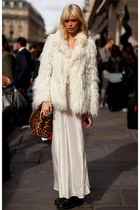 white jacket - off white maxi dress - brown leopard bag