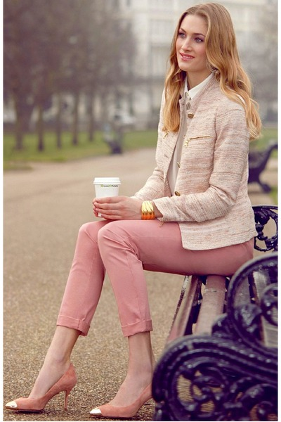 pink pants - light pink Zara shoes - light pink Zara jacket