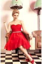 red dress - red heels