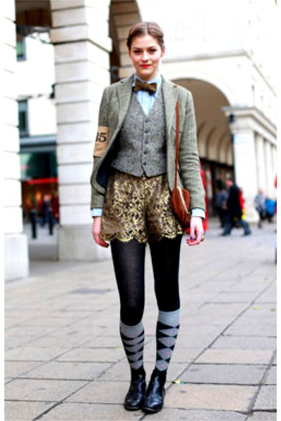 silver Ralph Lauren blazer - black tights - gold shorts