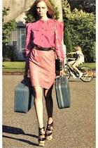 light pink blouse - neutral skirt