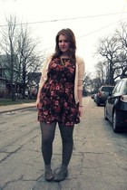 big buddha shoes - olive green H&M tights - Forever 21 dress - light pink H&M ca