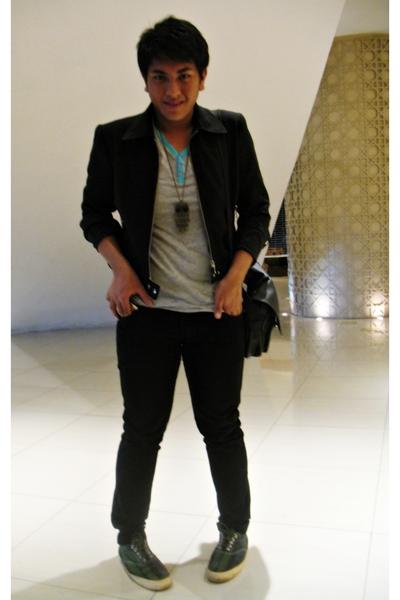 black warehouse jacket - gray Topman shirt - black pants - gray Ralph Lauren sho