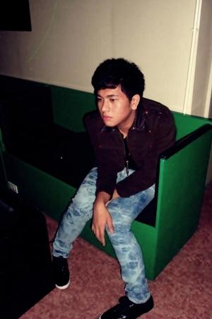 brown jacket - black Murano shirt - blue Folded and Hung jeans - black Topman sh
