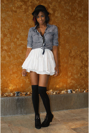 white H&M skirt - blue kuyichi shirt - black Filthy Magic socks - black Filthy M