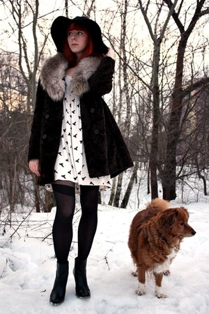 black Parfois shoes - ivory bird print Primark dress - dark brown vintage coat
