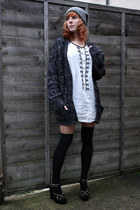 white Zara shirt - dark gray Topshop cardigan - black Topshop heels