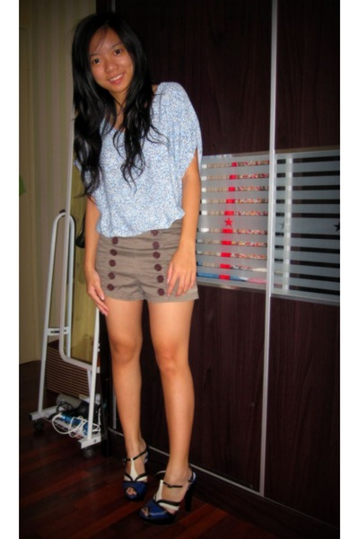 blue Zara blouse - brown Body & Soul shorts - black Charles & Keith shoes