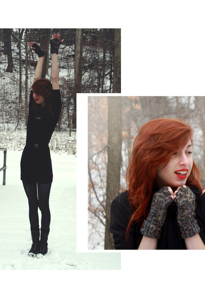 black Target boots - black sewn by me DIY dress - black jersey knit scarf - blac