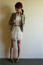 white H&M dress - gray Forever 21 cardigan - red belt - brown big buddha shoes